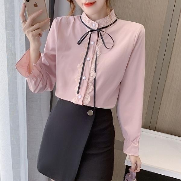 長袖襯衫韓版S-2XL襯衫女新款春裝襯衣法式設計感系帶蝴蝶結立領喇叭袖上衣薄款T614依佳衣
