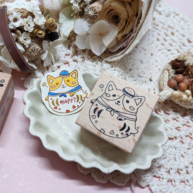 小小動物福神 - 柯基 機製印章 橡皮章