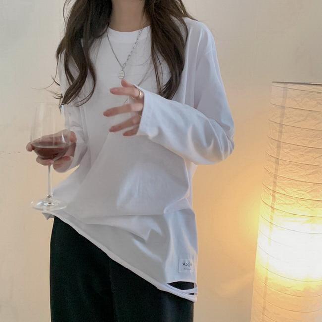 FOFU-自製韓版簡約寬鬆破洞字母慵懶風疊穿純棉長袖上衣T【08SG04592】