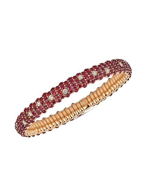 Stretch 18K Rose Gold, Diamond & Ruby Bracelet