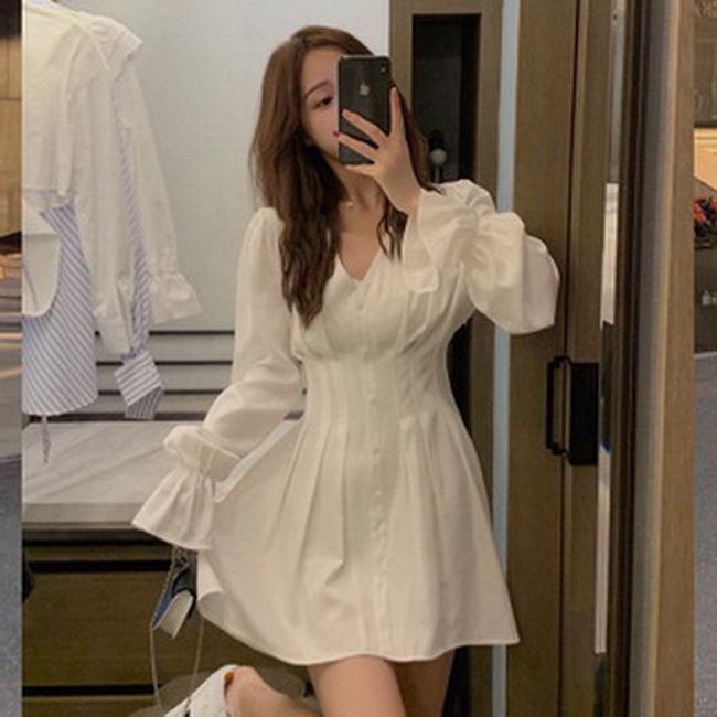 FOFU-連身裙初秋女長袖復古港味中長版白色襯衫裙收腰顯瘦氣質【08SG04701】