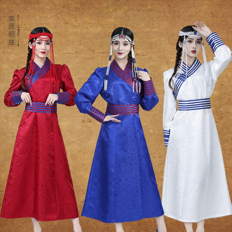 新款蒙古袍女士長款蒙古服飾婚禮舞臺主持人演出服太極拳拉丁舞練功服尾牙祭比賽民族舞蹈服裝禮服拍照服裝蒙族舞蹈蒙古舞服裝