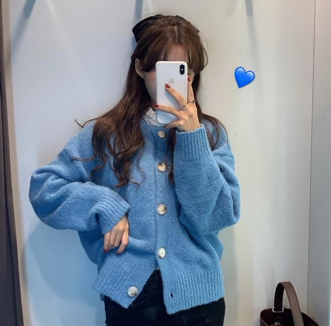 FOFU-韓版簡約針織罩衫毛衣女圓領素面上衣外套【08SG04628】