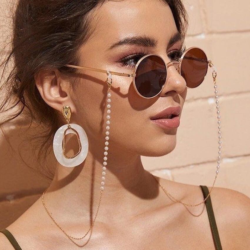 簡約時尚珍珠水晶金屬珠鏈多功能掛鏈(1組2條)m1868alex shop