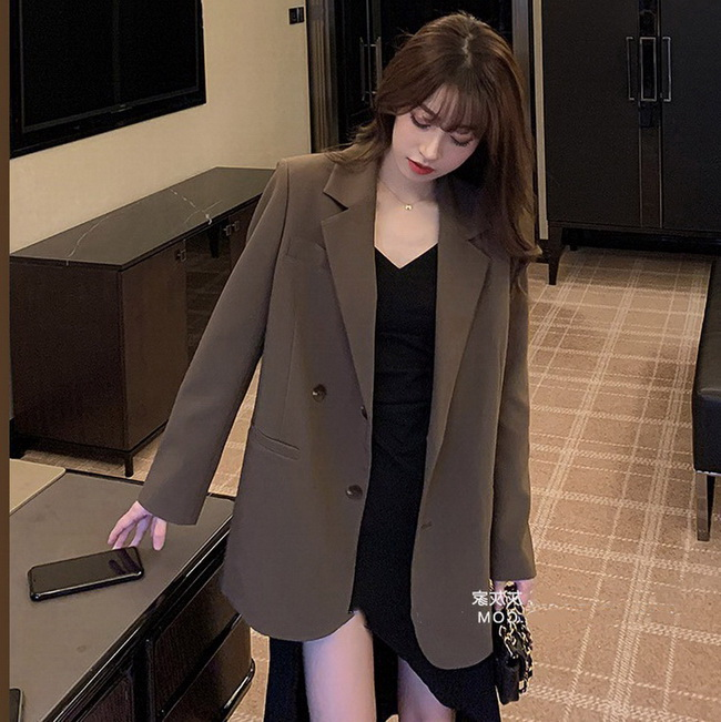 FOFU-西裝外套女裝韓版寬鬆英倫風高級感網紅小西裝【08SG04698】