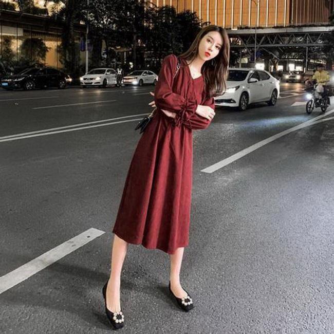 FOFU-長袖收腰連身裙高腰顯瘦法式復古百搭中長版秋天裙子【08SG04724】