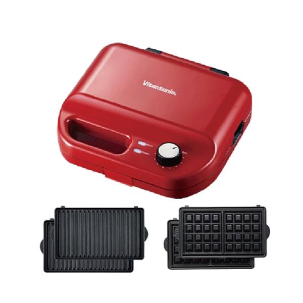 Vitantonio 鬆餅機VWH-50B 可定時 自動斷電內附帕尼尼+方格烤盤 紅色