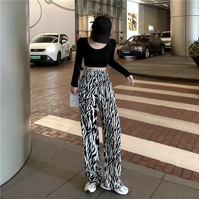FOFU-設計款斑馬紋闊腿褲女高腰顯瘦網紅寬鬆褲子【08SG04855】
