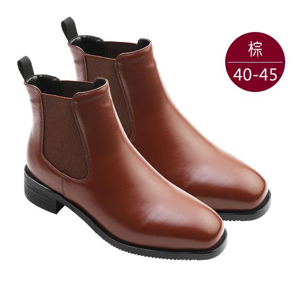 中大尺碼女鞋1002【XC-6005】真皮側鬆緊低跟切爾西靴/踝靴  40-45碼 172巷鞋舖(預購)