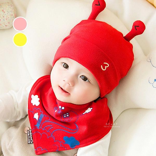 蝸牛造型寶寶嬰兒帽+口水巾2件組 嬰兒帽 口水巾