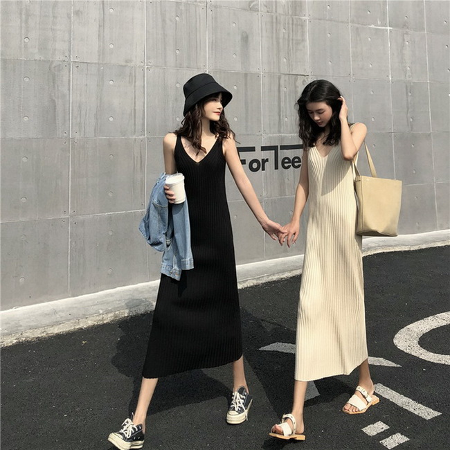 FOFU-韓版chic內搭吊帶針織連身裙背心裙【08SG04865】