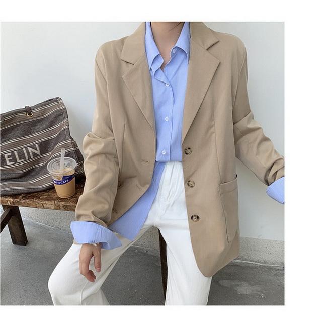 FOFU-韓版寬鬆單排扣長袖翻領西裝外套疊穿上衣【08SG04856】