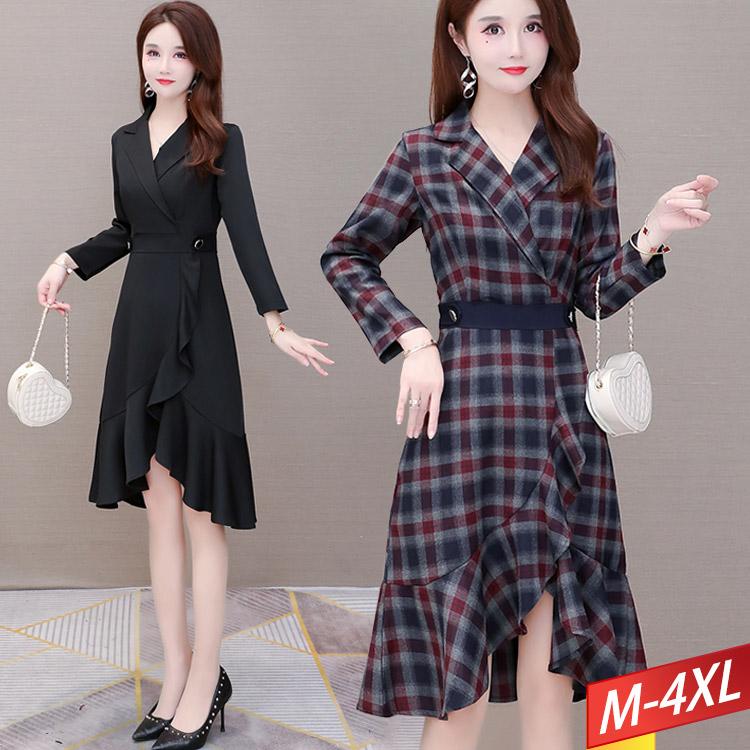 現貨出清 - 西裝領腰封魚尾裙洋裝(2色) M~4XL【054305W】-流行前線-