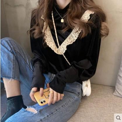 女生長袖襯衫 甜美蕾絲黑襯衫女秋冬款百搭復古港味襯衣金絲絨宮廷風女人味上衣