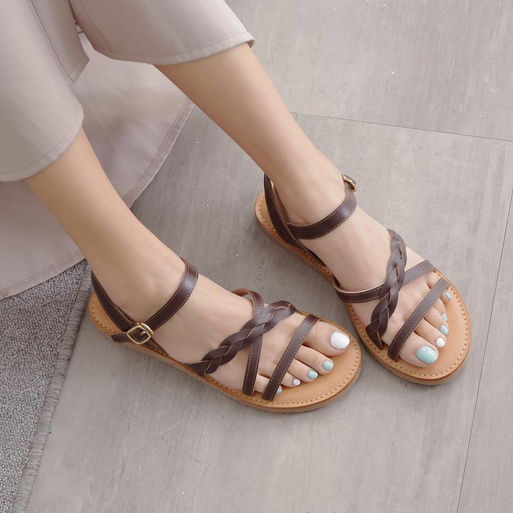 Kuru Mira仙氣飄飄交叉編織羅馬涼鞋-巧克力咖