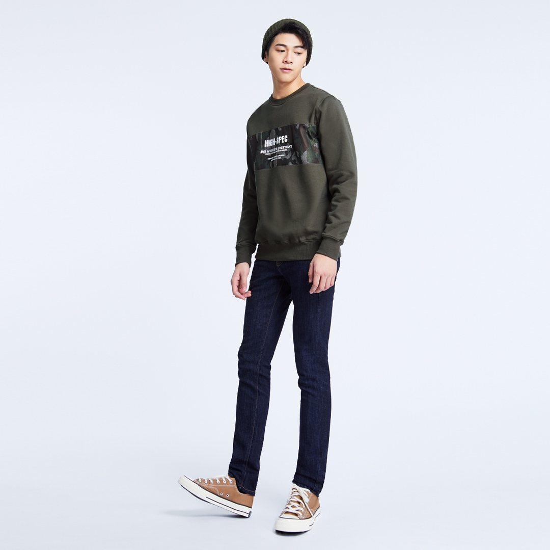 軍裝風迷彩拼接圓領純棉T(軍綠)-男