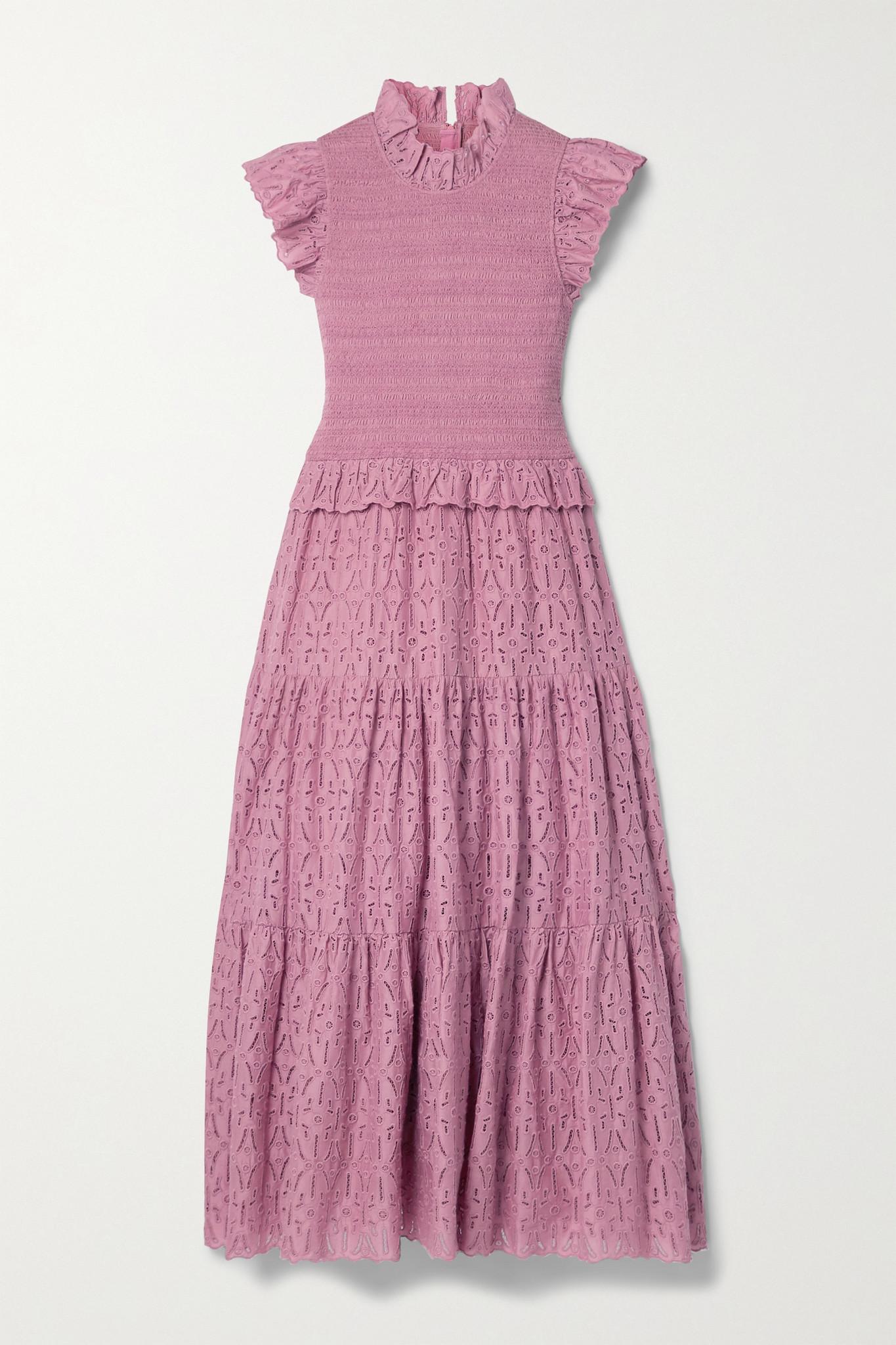 SEA - Ingrid 皱褶装饰荷叶边马德拉刺绣纯棉府绸连衣裙 - 粉红色 - US6