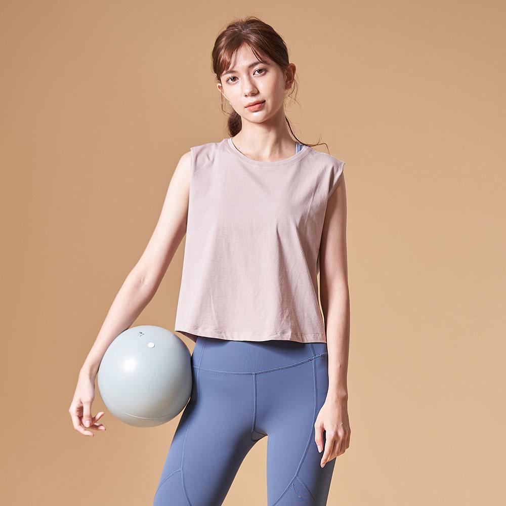 輕夏短版運動罩衫(薄棉)-茶粉