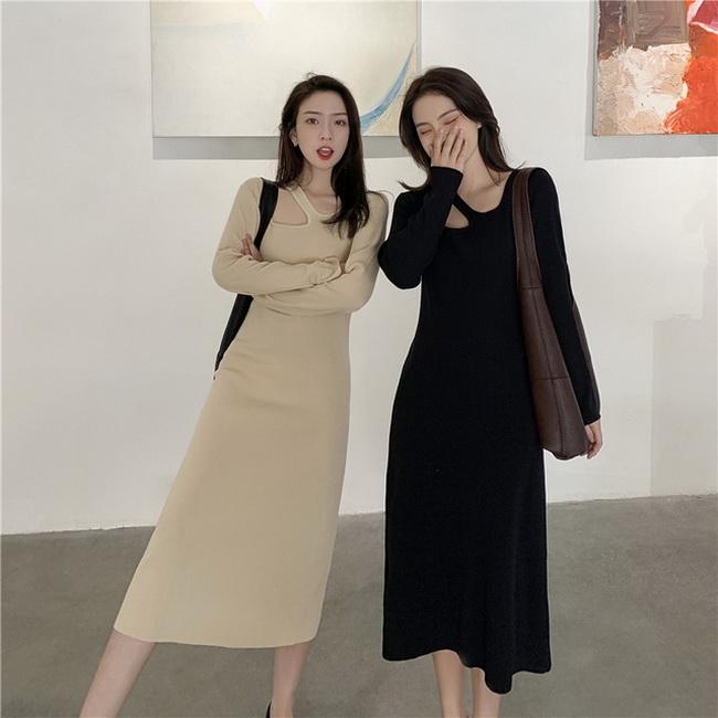 FOFU-法式復古溫柔風方領別致設計感連身裙長裙【08SG04875】