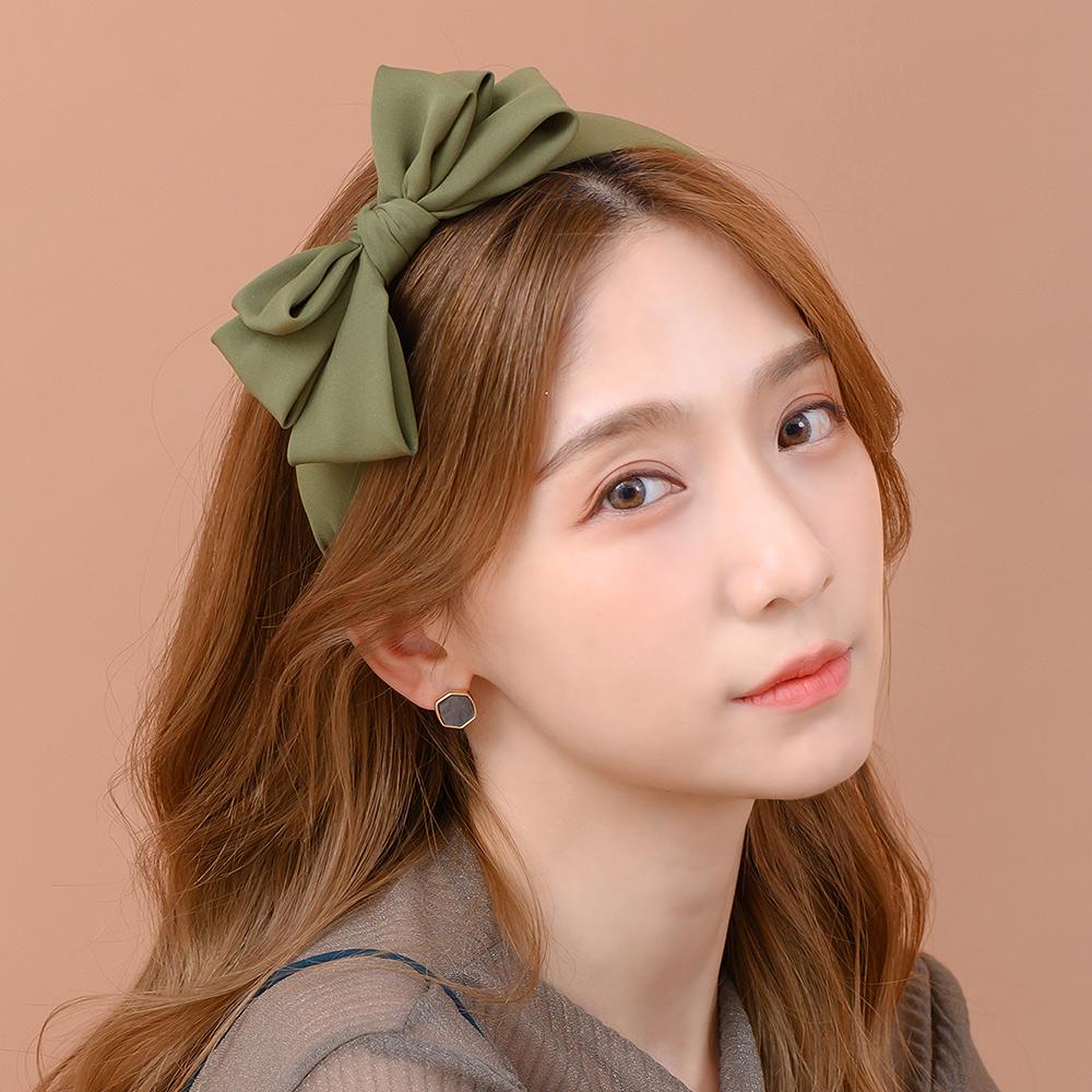 典雅素色多層蝶結寬版髮箍(2色)-H10079