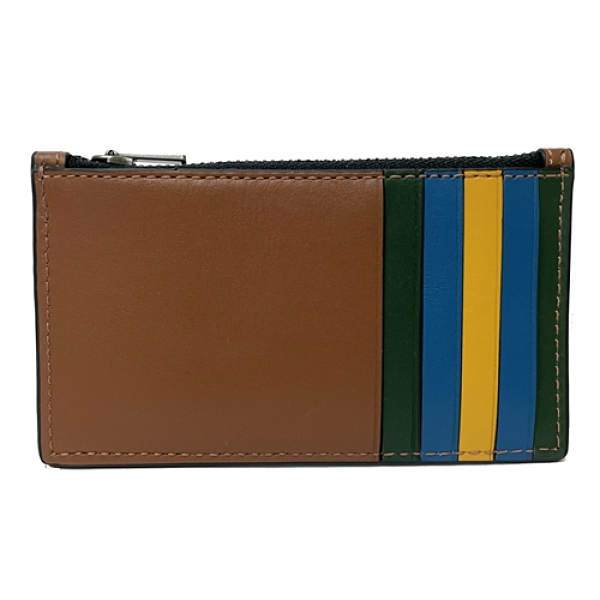 【COACH】多卡夾層男款中性名片夾零錢包(配色咖)