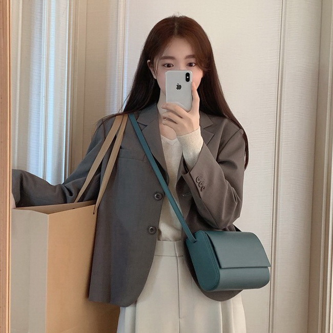 FOFU-外套女素面韓版時尚修身雙排扣短版西裝上衣女連身裙【08SG04699】