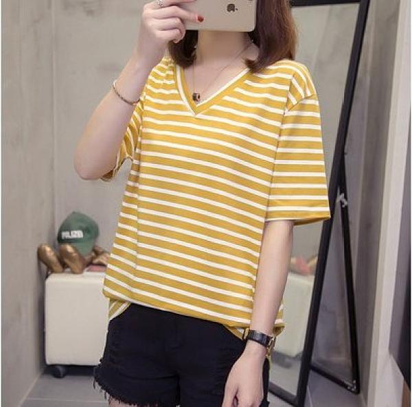 韓版基本款上衣中大尺碼L-4XL夏季寬鬆大碼純棉網紅條紋短袖T卹女顯瘦V領8941.R26皇潮天下