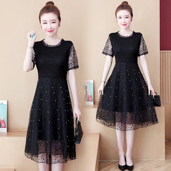 蕾絲連身裙2021夏裝新款L-5XL胖mm顯瘦大碼女裝蕾絲黑裙顯瘦遮肚洋氣連身裙女T130-B.6112 胖丫