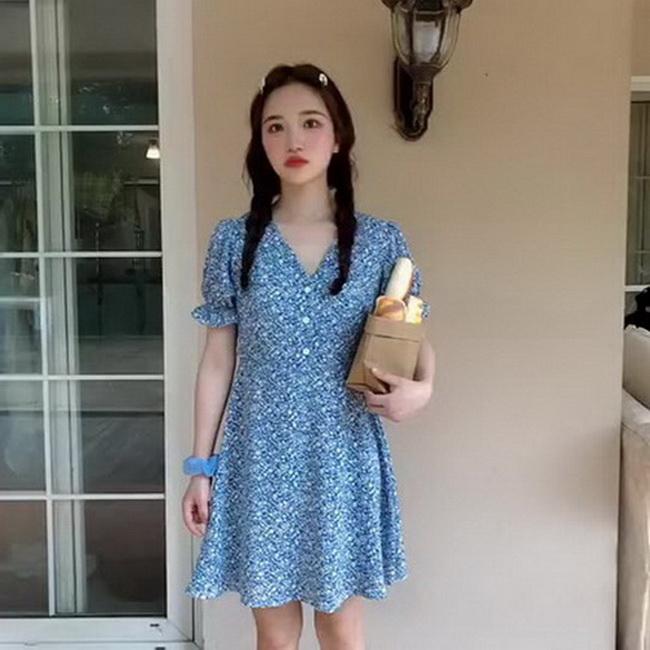 FOFU-碎花雪紡連身裙女收腰顯瘦氣質短裙【08SG04925】