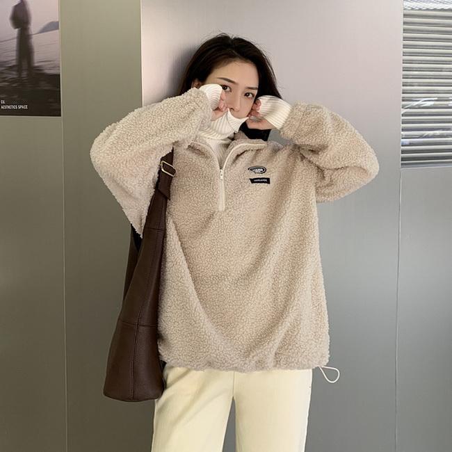 FOFU-羊羔毛外套女百搭加絨加厚立領衛衣大學T【08SG04848】