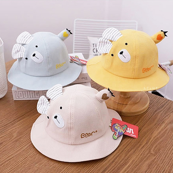 卡通小熊造型漁夫帽 童帽 漁夫帽 帽子