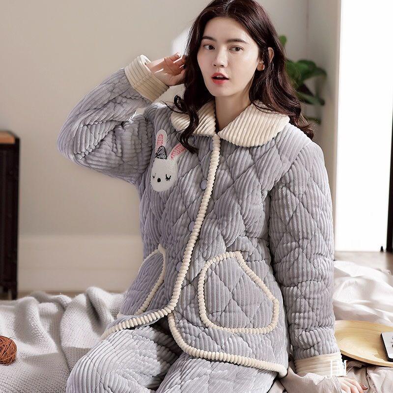 女士睡衣秋冬季三層加絨加厚夾棉襖法蘭絨珊瑚絨家居服套裝可外穿