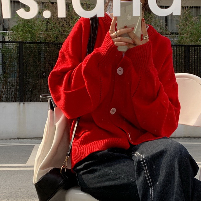 FOFU-韓國百搭寬鬆顯瘦圓領罩衫毛衣女【08SG04581】