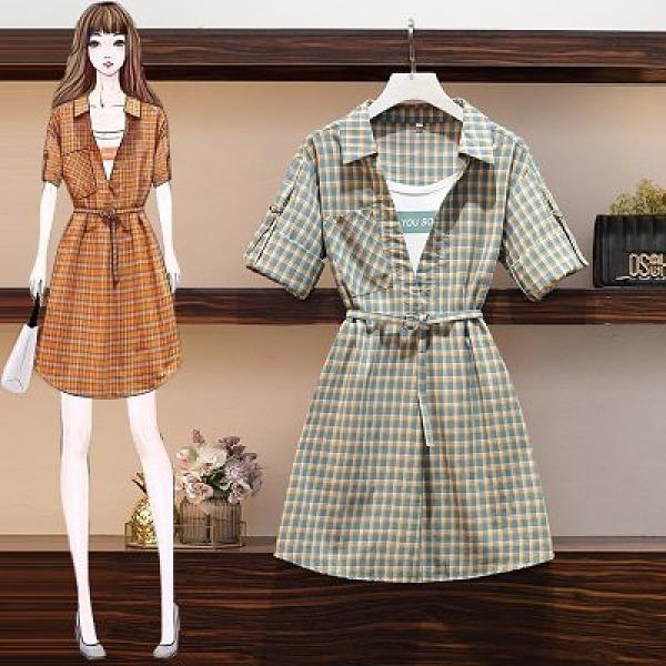 洋裝襯衫裙中大尺碼L-4XL新裝大碼女裝胖mm連衣裙顯瘦洋氣減齡遮肚假兩件襯衫裙3F088-5319.皇潮天下
