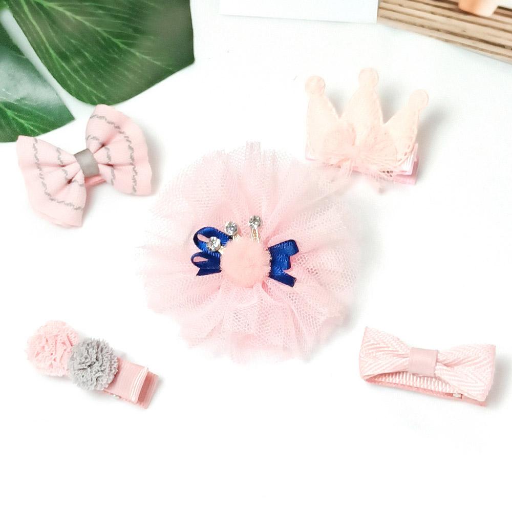 韓系安全髮夾 禮盒五件組 保護寶貝細嫩肌膚 粉花朵皇冠【CH003A2205】