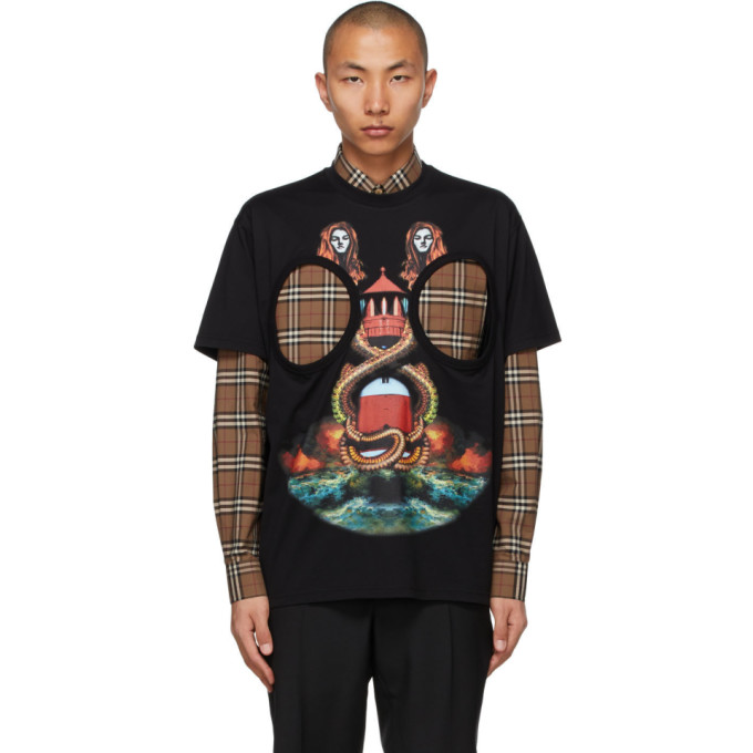 Burberry 黑色 Mermaid Print 镂空 T 恤