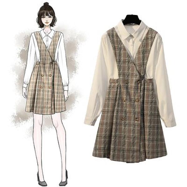 套裝裙吊帶裙襯衫中大尺碼XL-5XL秋裝大碼學院風顯瘦兩件套4F093-8905.皇潮天下