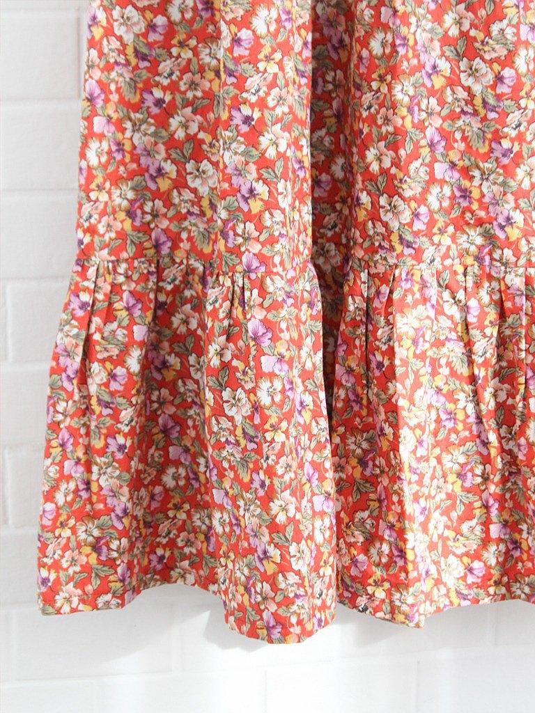 復古春夏歐洲90s可愛小碎花橘紅色寬鬆棉質古著長裙