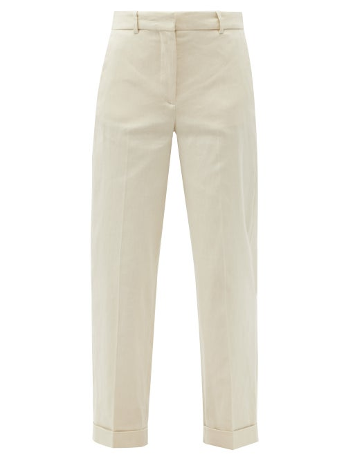 Joseph - Trina Cropped Linen-blend Twill Trousers - Womens - Cream