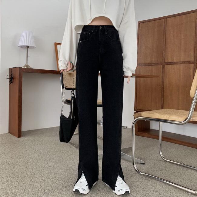 FOFU-開叉牛仔長褲女寬鬆高腰顯瘦直筒褲闊腿褲潮拖地褲【08SG04652】