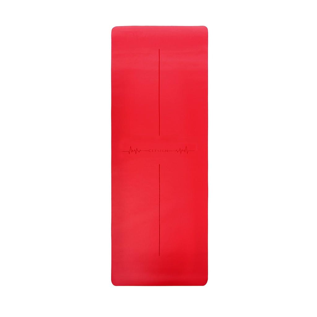 【英國進口Clesign】PRO 心動4.5mm 頂級專業瑜珈墊 乾濕止滑 橡膠墊 - 熱力紅 附背袋