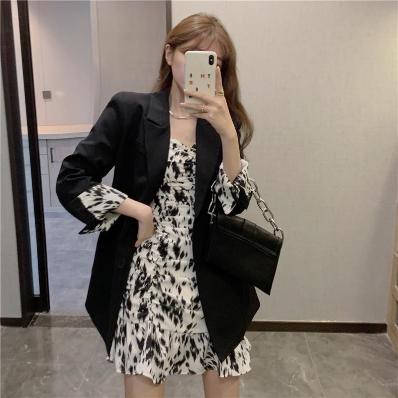 2020秋冬季新款高級感寬鬆西服小外套豹紋吊帶連衣裙子兩件套女裝
