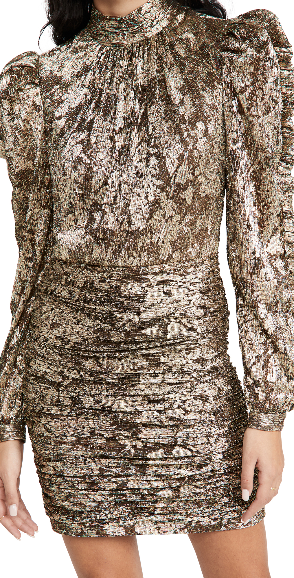 Jonathan Simkhai Ashe Metallic Plisse Mini Dress