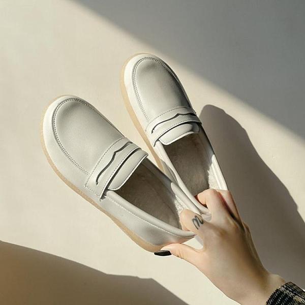 護士鞋女軟底不累腳2021春季新款百搭加絨一腳蹬小白鞋懶人豆豆鞋 韓國時尚 618