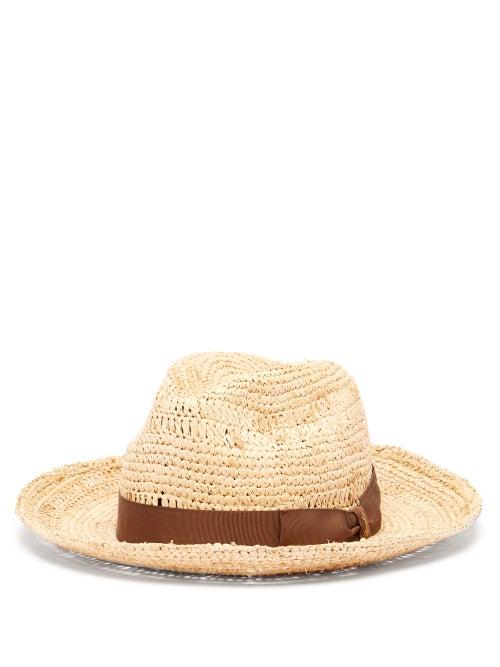 Borsalino - Grosgrain-trim Raffia Panama Hat - Mens - Dark Brown