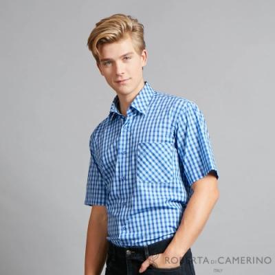 ROBERTA諾貝達 進口素材 台灣製 純棉陽光型男 經典格紋短袖襯衫 藍色