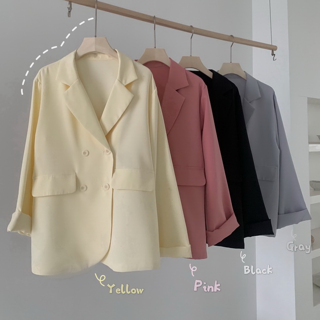 FOFU-韓版寬鬆簡約雙排扣薄款休閒西裝外套【08SG04629】