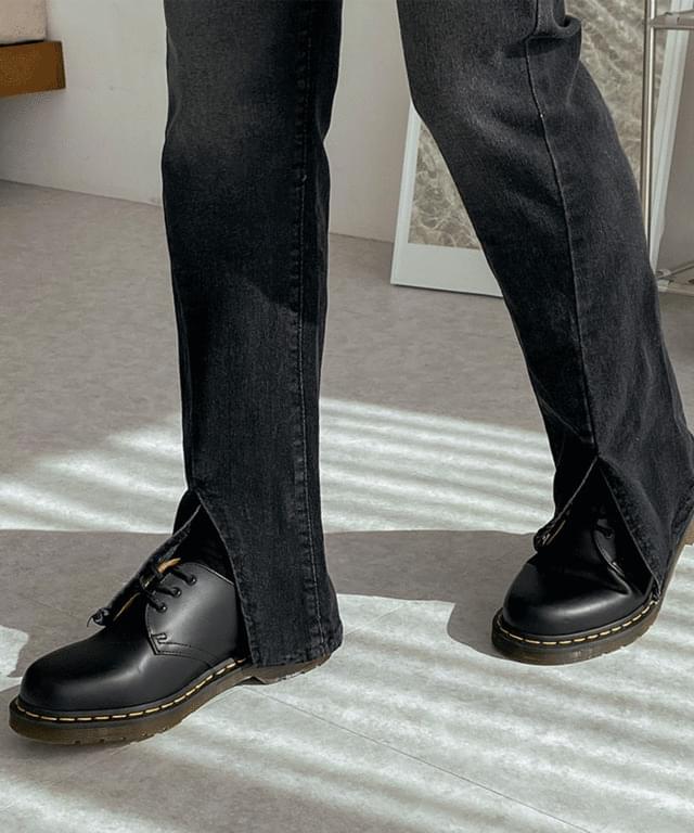 韓國空運 - Black Denim Split denim pants 牛仔褲