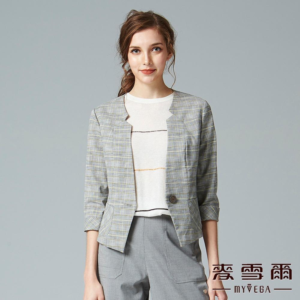 【麥雪爾】復古風格紋開襟西裝外套