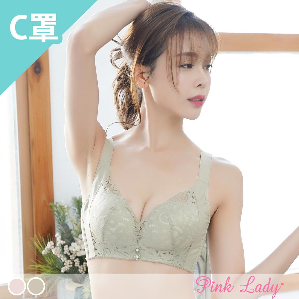 【C罩杯】無鋼圈均勻薄襯 迷叢曼舞 單件內衣1570(粉色、橄欖綠)-Pink Lady
